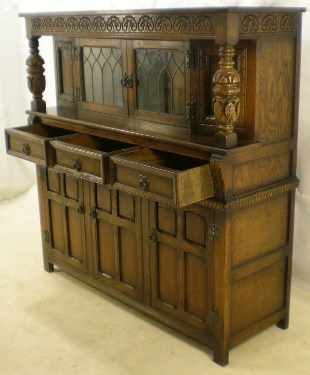 Antique Style Carved Oak Court Cupboard By Old Charm Sold